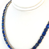 MAZER BROS Signed Deep Blue Sapphire Rhinestone Necklace - High Quality Glass Crystals - 1940s DAZZLING!!