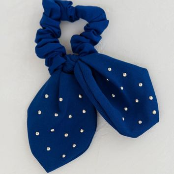 Knotted Bow Scrunchie - Blue
