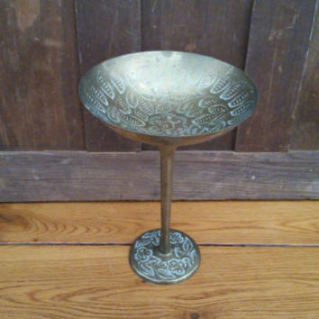 Vintage Etched Brass Compote Made in India