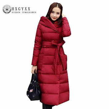 Women Down jacket 2017 New Simple Thick Slim Winter Down jacket Fashion temperament Hooded lace-up Female Down jacket ZX0138