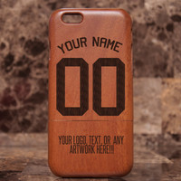 Wood iPhone 6 case - Team iPhone cases, World Cup custom Sports Jersey - Natural Wood iPhone 6 Case Engraved, Basketball , Baseball , Soccer