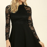 Socialite Up My Life Black Lace Skater Dress