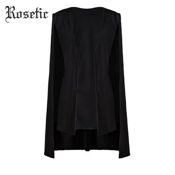 Women Autumn Black Straight Casual Fashion Outerwear Trench Retro Street Lady Office Party Goth Coats