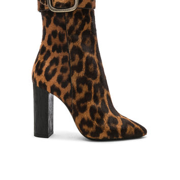Saint Laurent Leopard Print Pony Hair Joplin Buckle Boots in Natural | FWRD