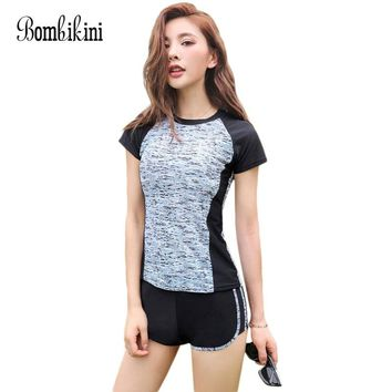 b85510a8f0724 M-5XL Short Sleeve Tankini Top With Boyshorts Swimsuit Women Spo