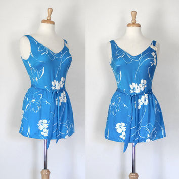 Vintage Swimsuit / 1960's Maillot / Retro Bombshell Pin Up Bathing Suit / Floral Tank Swimwear / Turquoise and White / Fit and Flare