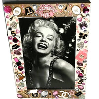 Hollywood Regency CHANEL Style Picture FRAME Paris French COUTURE Fashion Photo Frame Marilyn Monroe 50s Bombshell Pin Up Girly Bling Decor