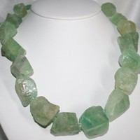 Rough Green Aventurine Nugget Statement Necklace, Chunky Raw Nugget Necklace