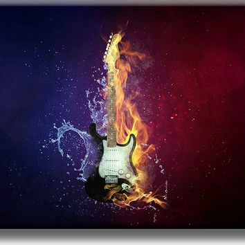 Electric Guitar on Fire Picture on Stretched Canvas, Wall Art Décor, Ready to Hang