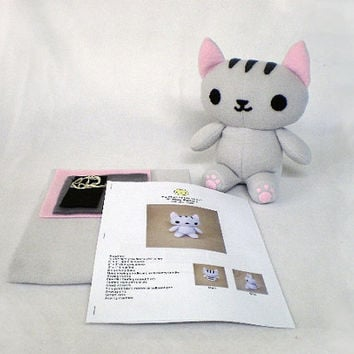 Plush Kitty Cat Plushie Sewing Kit DIY