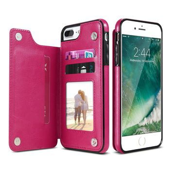 Leather Flip Stand Phone Case for iPhone 7 7 Plus for iPhone 6 6S Plus Case Card Slot Buckle Back Cover for iPhone 7 6S