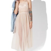 Powder Puff Mesh Maxi Dress