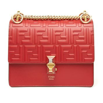 Red Crossbody Gold Chain Bag by Fendi