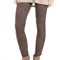 Sun & Shadow Lace-Up Faux Suede Leggings | Nordstrom