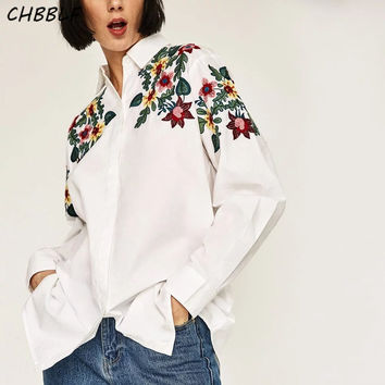 New Autumn Flowers Embroidered Shirt Fashion Floral Embroidery Women Shirts Turn-down Collar Women Tops Dfp8195