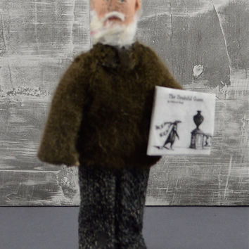 Edward Gorey Macabre Author Doll Miniature Art Collectible