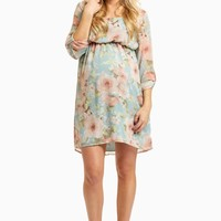 Light-Blue-Floral-Chiffon-3/4-Sleeve-Dress