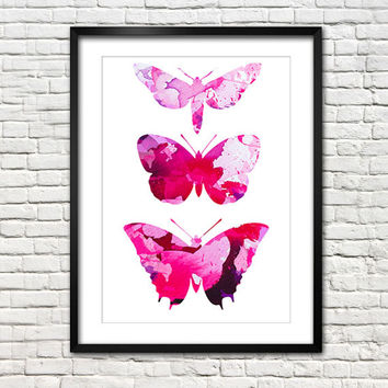 Butterfly Poster Art Print. Watercolor Painting. Watercolor poster. Handmade poster.
