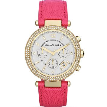 Michael Kors Parker Chronograph Glitz Watch in Pink Leather, 39mm | Bloomingdale's