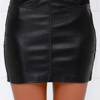 Blank NYC Instigator Black Vegan Leather Mini Skirt