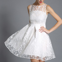A-Line Mid Backless Lace Skater Dress