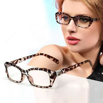 Leopard print glasses Women myopia eyeglasses frame decoration eyes box crystal Fashion