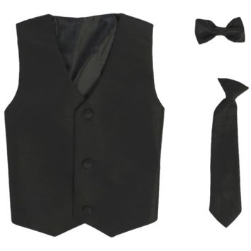 Black Poly-Silk Boys Vest & Tie Set 3M-14