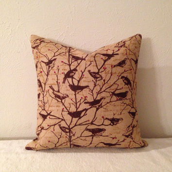 Decorative-Accent-Throw Pillow 18 inch-Burlap with Morning Birds-Free Domestic Shipping