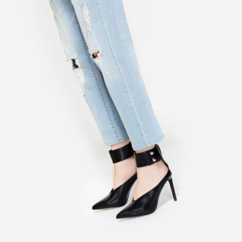 Black Buckle Ankle-Strap Stilettos | CHARLES & KEITH