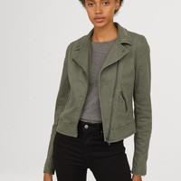 Twill Biker Jacket - Khaki green - Ladies | H&M US