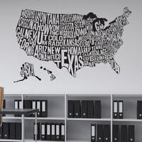 Vinyl Wall Decal Sticker United States Map #1275