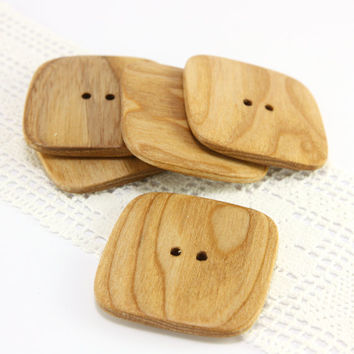 Large square buttons. Set of 5 natural ash wood buttons in size 1.7in (43mm) - S1018