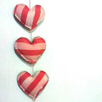 Handmade heart plush/jean vertical garland 100% recycled fabric eco friendly