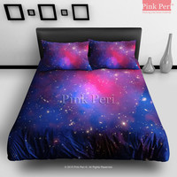 The Laser of Nebula Space Galaxy Bedding sets Home & Living Wedding Gifts Wedding Idea Twin Full Queen King Quilt Cover Duvet Cover Flat Sheet Pillowcase Pillow Cover 009