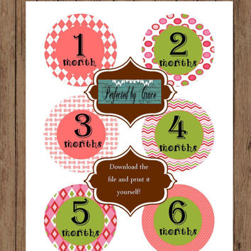 DIY INSTANT Download Printable Monthly Baby Month Stickers Month to Month Age Stickers Pink and Lime Green Girl Design