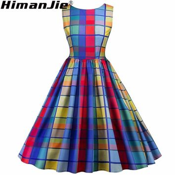 colorful retro dress 50s Rockabilly 1950 50 Pinup Dress Punk Vintage Style retro swing dress plaid women dresses S-2XL