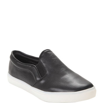 Black Faux Leather Slip-On Shoes