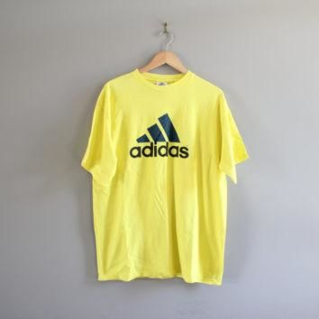 Vintage 90s Adidas T-shirt Trefoil Big Logo Yellow Cotton Tee Made in USA Baggy Slouch