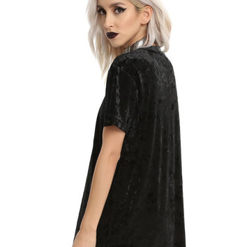 Black Crushed Velvet Girls Tunic T-Shirt