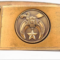 Masonic Shriners Bronze Belt Buckle, Symbolic Egyptian Motifs, Gold Wash, Vintage Belt Buckle, Buckle Only