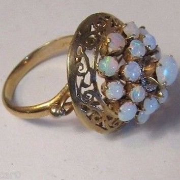 Vintage 14k Gold OPAL Cocktail Ring Beautiful Fire ESTATE Solid Yellow 3 Tier