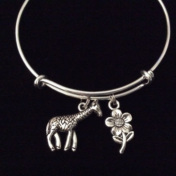 Giraffe Charm Adjustable Bangle Silver Expandable Bracelet Gift Trendy Teenager Stacking