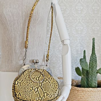 Vintage 1960s Embossed Snakeskin + Kiss Lock Bag