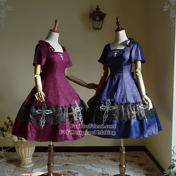 Silent Hill II, Gothic Lolita Square Neckline Jacquard Summer Dress/OP & Skorts & Hairbow*2colors Instant Shipping