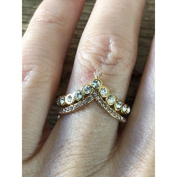 SAMPLE SALE  Vintage Yellow Rose Gold Double Chevron Ring Size 7