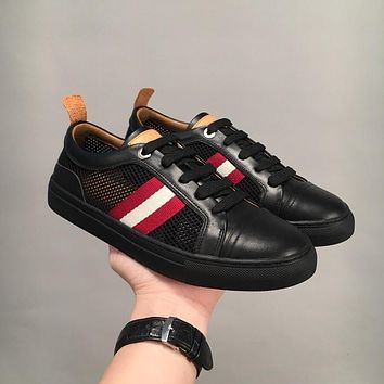 Bally Hendrik Men's Perforated Calf Leather Trainer In Black Sneakers Shoes - Sale