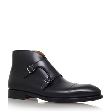 Wakeby Wolf Finesse Black Double Monk Chukka Genuine Leather Boots