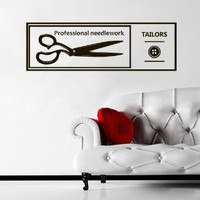 Wall Decal Vinyl Sticker Art Decor tailor studio sew seamstress Tailoring scissors button signboard needlework handiwork work (M1496)