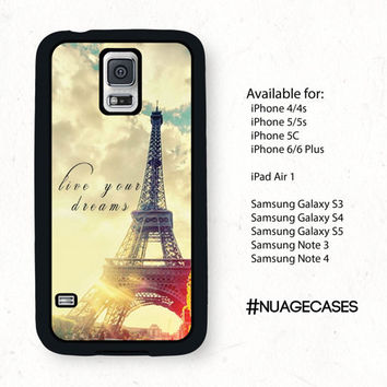 Vintage Eiffel Tower Samsung Galaxy S5 Cell Phone Case Paris Love Live Your Dreams Inspirational Quote Iphone 6 Case Iphone 5S Case Note 4