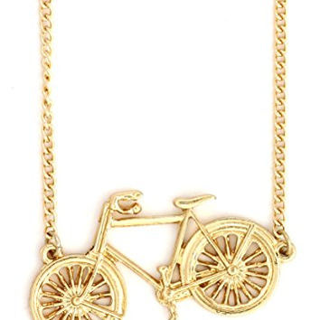 Vintage Bicycle Necklace Gold Tone NW07 Bike Cyclist Pendant Fashion Jewelry